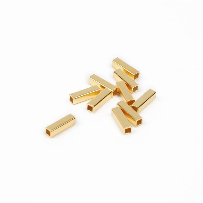Gold Plated 925 Sterling Silver Square Tube Spacers Approx 7x2mm, 10pcs