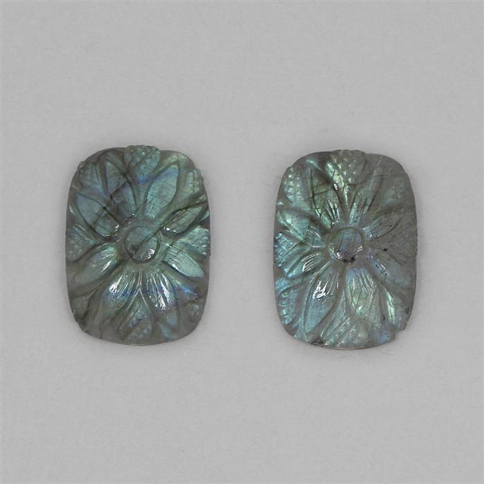 45cts Labradorite Fancy Carved Puffy Rectangles Approx 25x18mm. 2pcs.