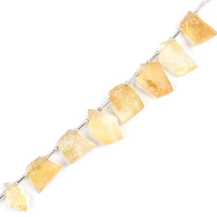 90cts Citrine Graduated Irregular Multi Druzy Approx 12x11 to 19x14mm, 8cm Strand.