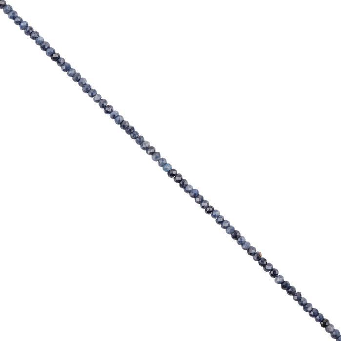 20cts Natural Blue Sapphire Micro Faceted Rondelles Approx 3x2mm, 28cm Strand.