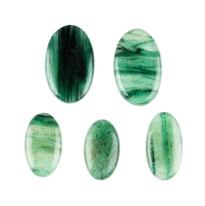 190cts Green Quartz Multi Shape Cabochons Assortment.