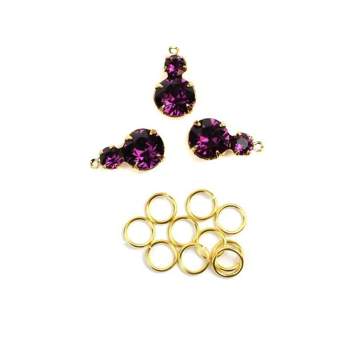 February Swarovski Pendant Kit: Amethyst & Gold Multi Stone Pendants & Jump Rings