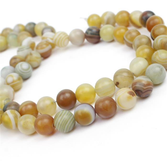 2 x 250cts Yellow Striped Frosted Agate Rounds Approx 10mm, 38cm strand
