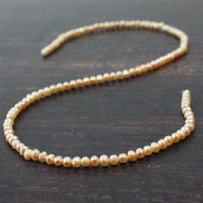 Pink Freshwater Cultured Potato Pearls Approx 3x4mm, Approx 38cm Strand
