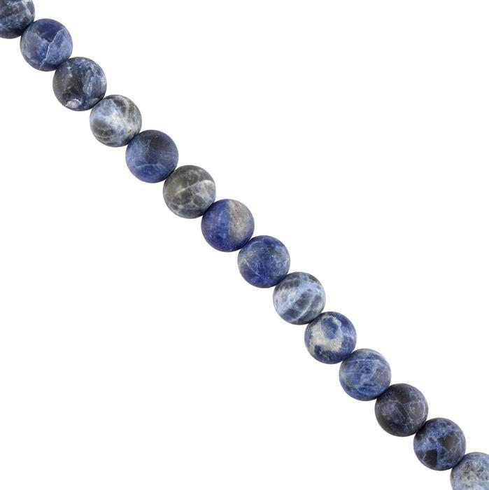 130cts Sodalite Plain Matte Finished Rounds Approx 8mm, 28cm Strand.