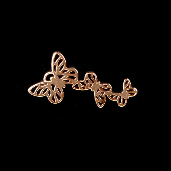 Rose Gold Plated 925 Sterling Silver Filigree Butterfly Kaleidoscope Pendant Approx 15x28mm 1pc