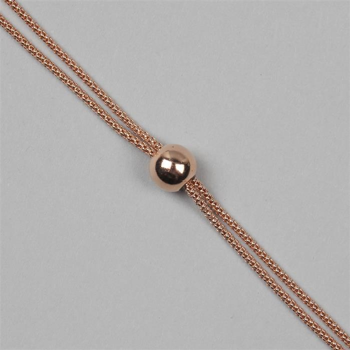 Rose Gold Plated Sterling Silver Popcorn Chain With 8mm Ball Slider Bracelet (1pc)