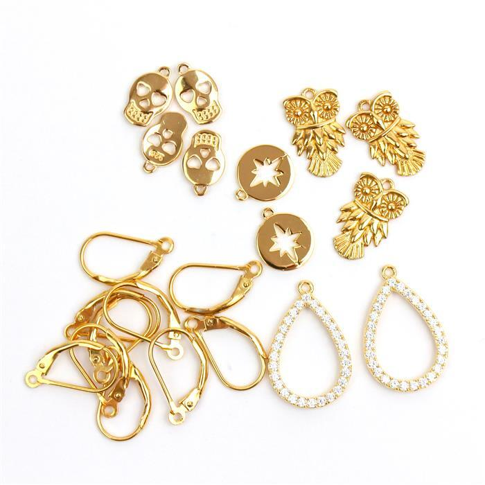 Gold Plated 925 Sterling Silver Earrings Collection! Inc; Owls, Pear Drops With CZ & More.