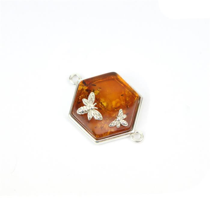 Baltic Cognac Amber Hexagon Bees Connector Approx 17x25mm Sterling Silver