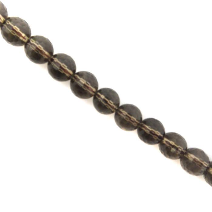250cts Smokey Quartz Faceted Rounds Approx 10mm, 38cm strand