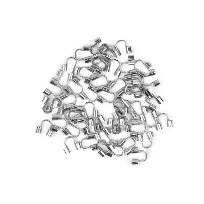 Silver Plated Brass Wire End Tips Hole - 0.5mm (50pcs/pk)