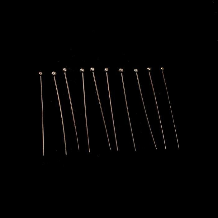 Rose Gold Plated 925 Sterling Silver Ball Headpins - 30mm (0.6mm) - (10pcs/pk)