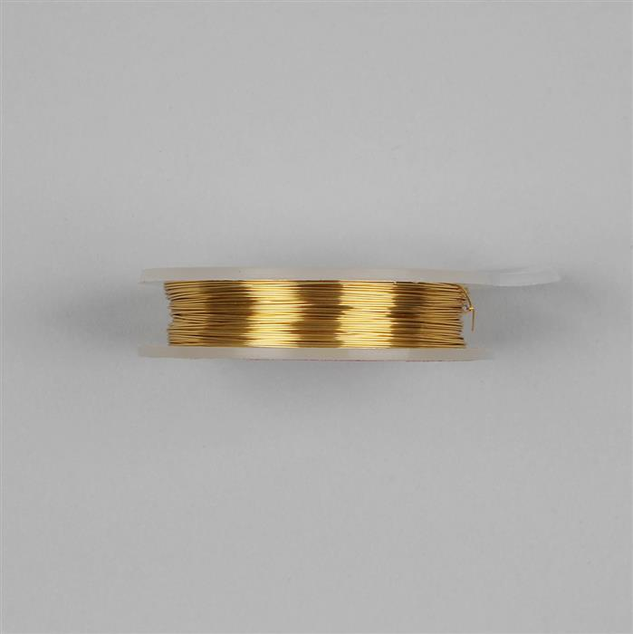 Gold Coloured Silver Plated Copper Wire - 0.8mm (6m)
