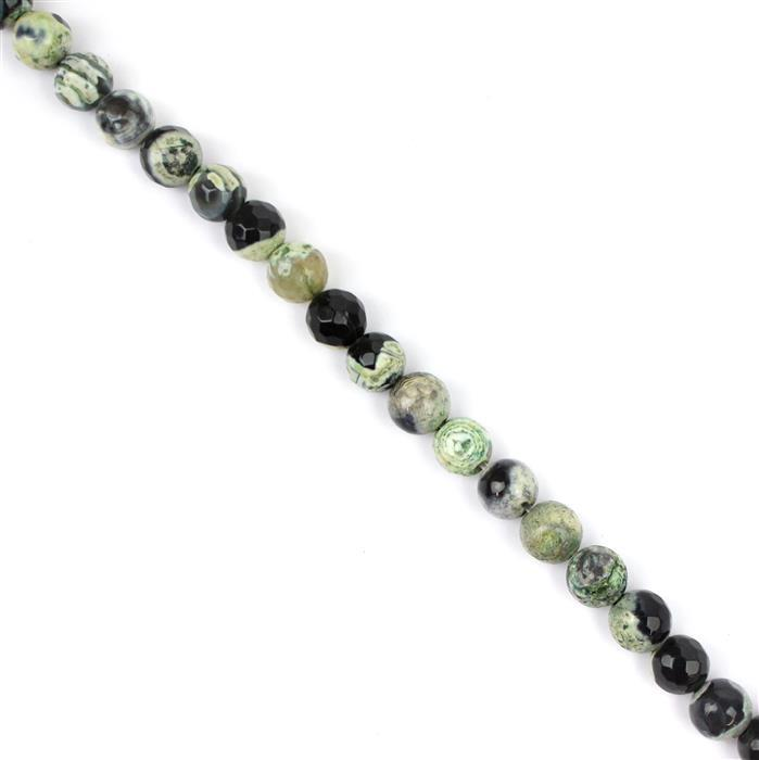 150cts Black & Green Agate Faceted Rounds Approx 8mm, 38cm strand