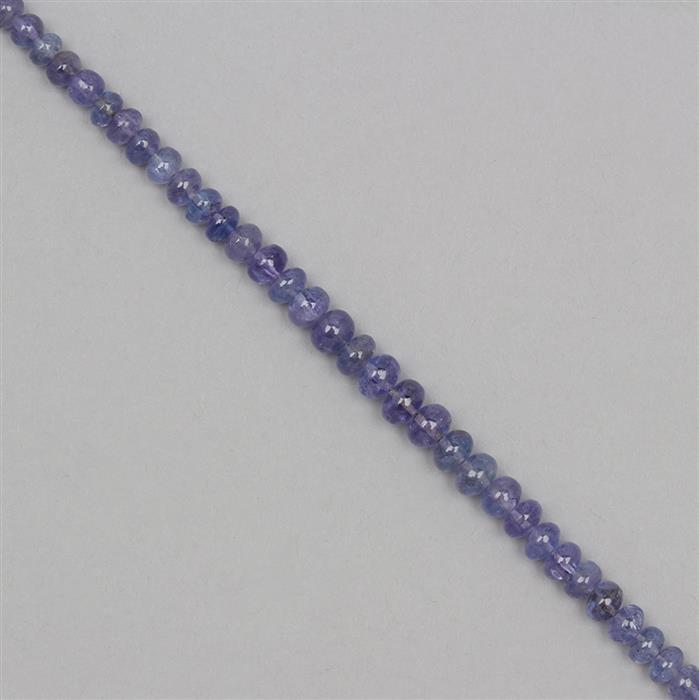 40cts Tanzanite Graduated Plain Rondelles Approx 2x1 to 6x4mm, 18cm Strand.