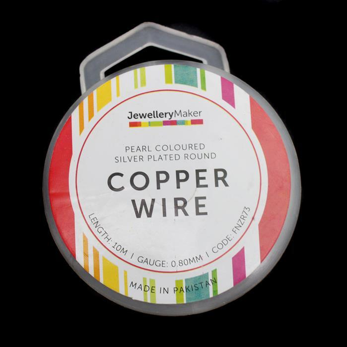 10m Pearl Coloured Silver Plated Copper Wire 0.80mm