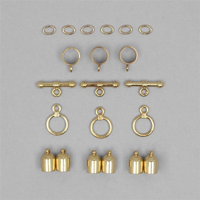 Kumihimo Accessory Pack Gold Plated 3mm (3pack)