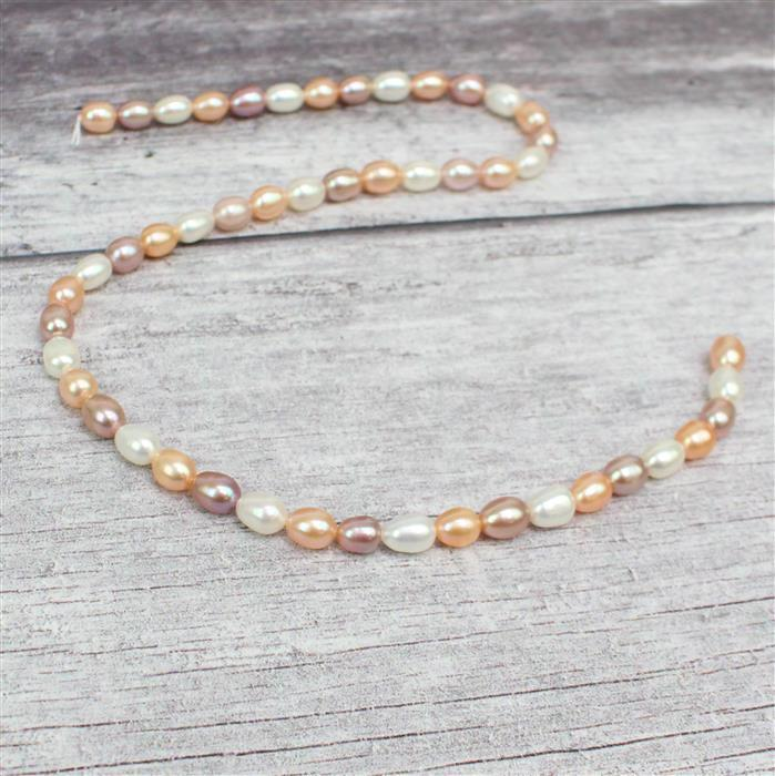 Multi Colour Freshwater Cultured Rice Pearls Approx 6x8mm, 38cm strand