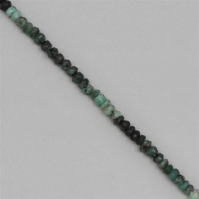 32cts Shaded Emerald Graduated Faceted Rondelles Approx 3x1 to 4x2mm, 29cm Strand.