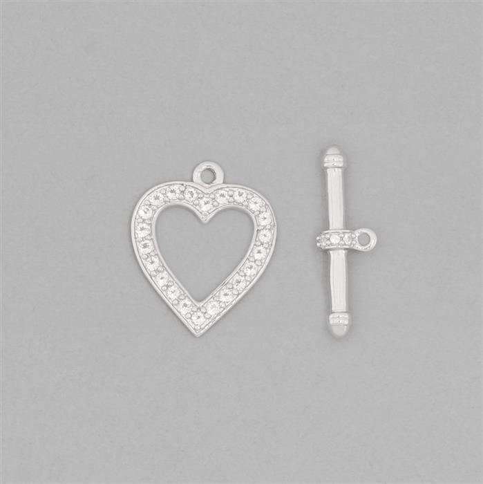925 Sterling Silver Heart Toggle Clasp T-Bar Approx 20x3mm & Heart Approx 18x15mm Inc. 0.40cts White Topaz Brilliant Round