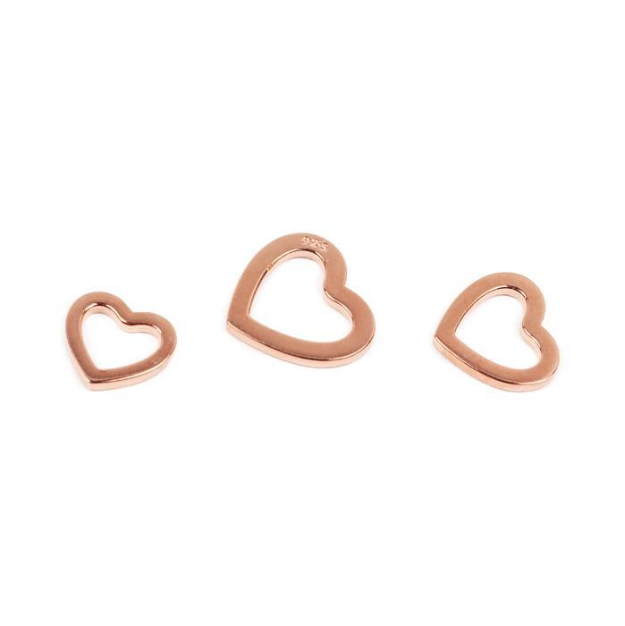 Rose Gold Plated 925 Sterling Silver 3 Size Heart Charms, 10, 11 & 12mm (3pcs)