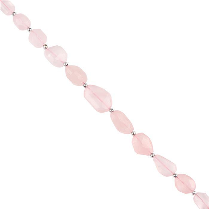 94cts Rose Quartz Graduated Faceted Nuggets Approx 9x8 to 18x14mm, 18cm Strand.