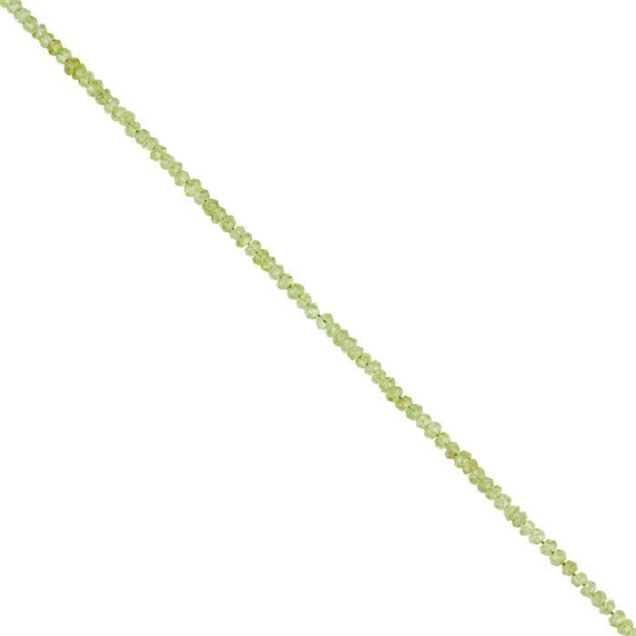 24cts Peridot Faceted Rondelles Approx 2x1 to 3x2mm, 30cm Strand.