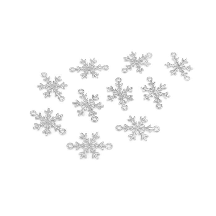 Silver Plated Base Metal Snowflake Connectors Approx 12mm (10pcs)