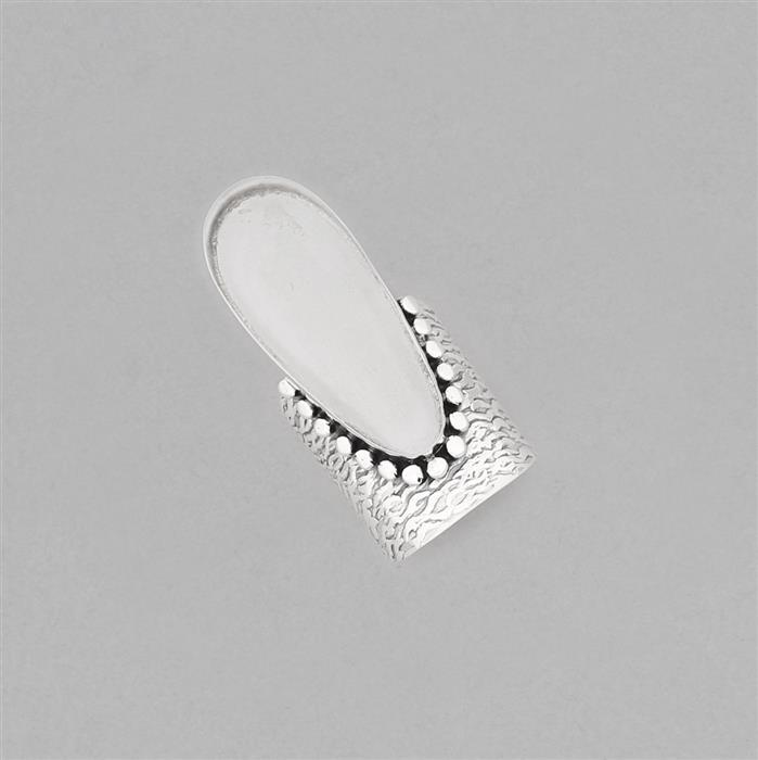 925 Sterling Silver Adjustable Textured Chunky Ring Approx 34x14mm Bezel