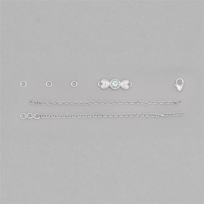 Birthstone Kit: 925 Sterling Silver Bracelet Kit Inc. 0.38cts Aquamarine Round Approx 5mm