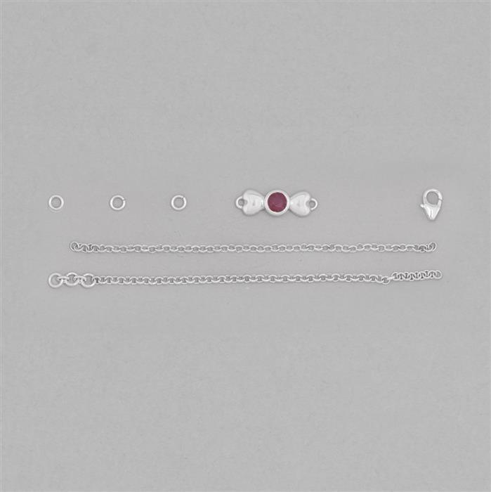 Birthstone Kit: 925 Sterling Silver Bracelet Kit Inc. 0.70cts Ruby Round Approx 5mm