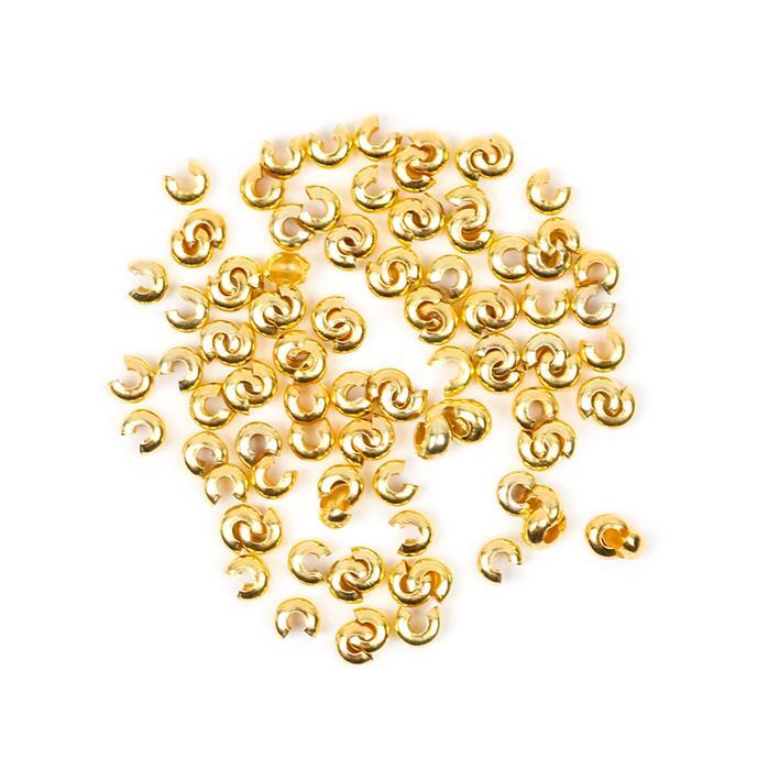 Gold Plated Brass Crimp Bead Covers - 3mm (100pcs/pk)