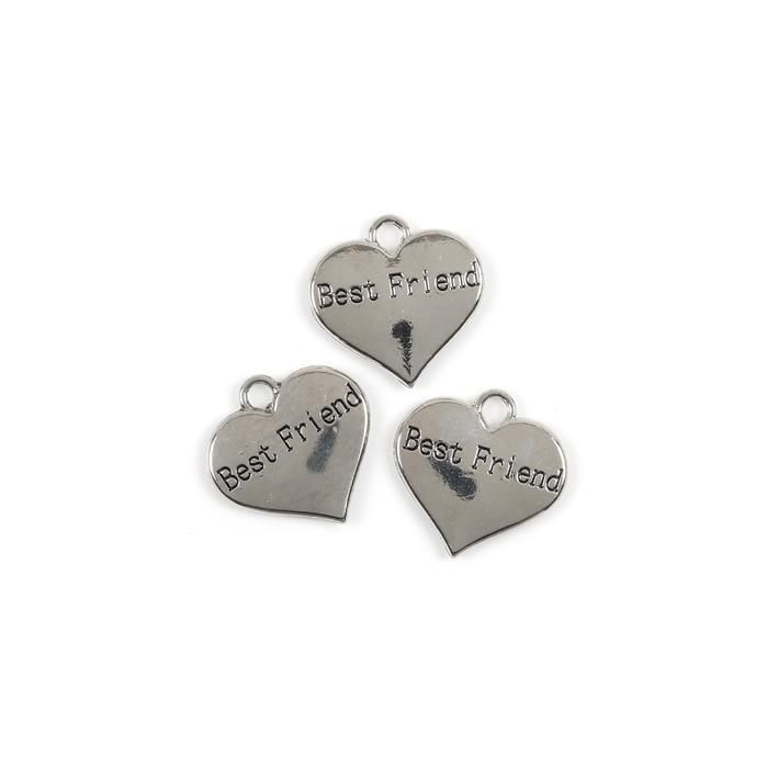 Silver Colour Heart Charms Engraved With Best Friend Approx 3cm 3pk