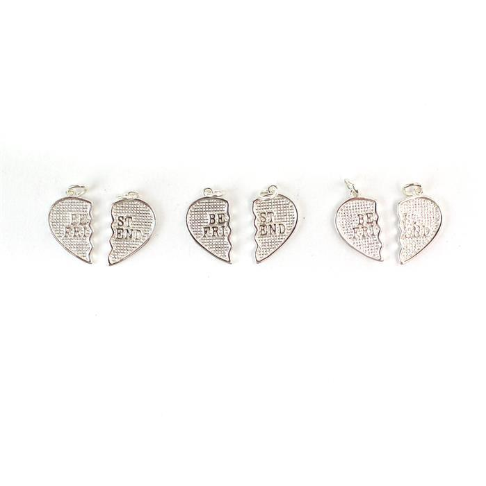 Silver Plated Brass Best Friend Pendants Total Size 20x20mm, Each Half Size 20x10mm 2pc/pair, 3 Pairs