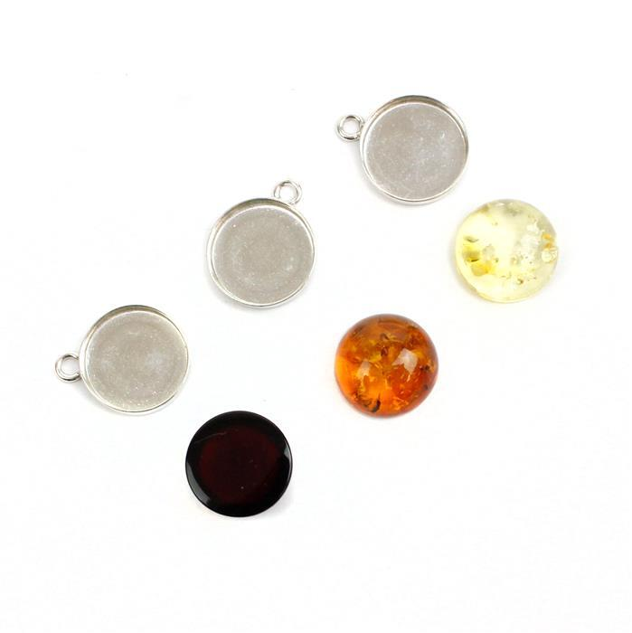 Baltic Amber Cabochons Approx. 12mm & Sterling Silver Bezels, Approx 13x16mm (3pk - Cognac, Cherry, Lemon)