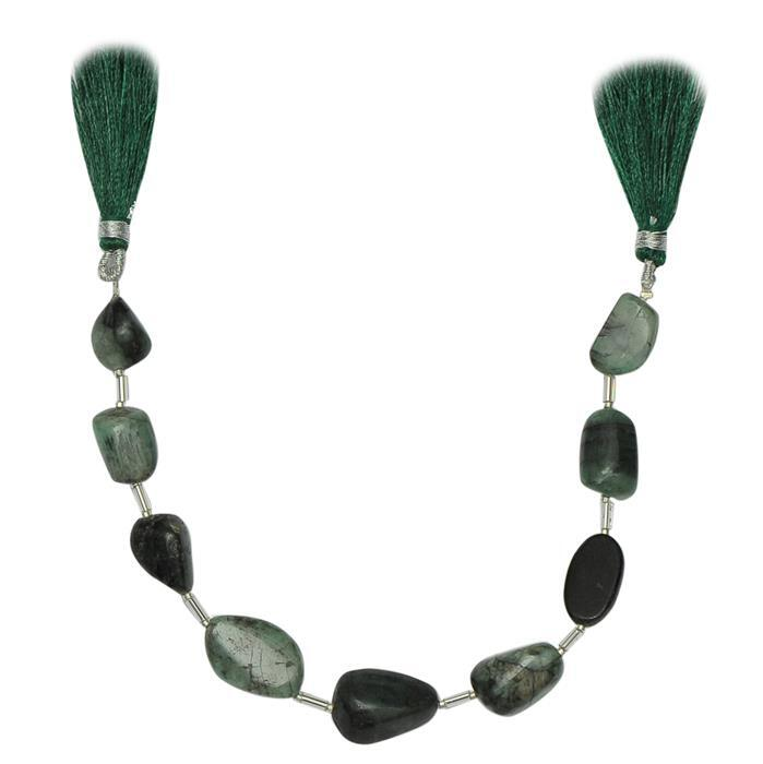 95cts Emerald Graduated Plain Medium Nuggets Approx 10X6 to 17x9mm, 18cm Strand.