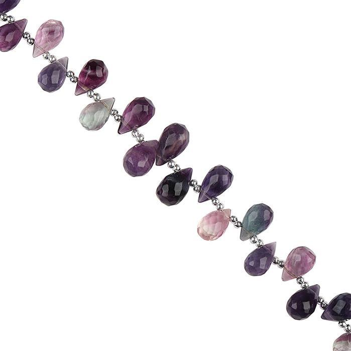 70cts Multi Colour Fluorite Graduated Faceted Drops Approx 7x5 to 10x6mm, 18cm Strand.