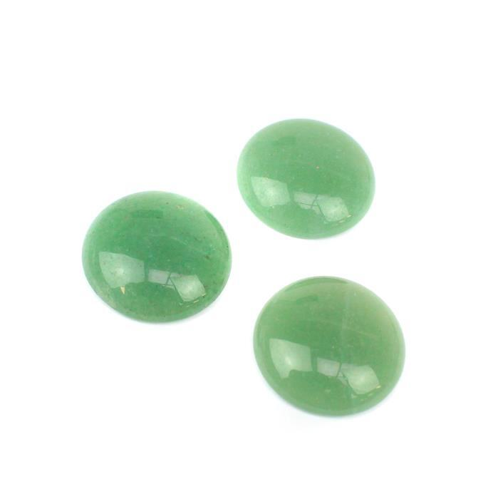 30cts Green Aventurine Round Cabochons Approx 20mm (3pcs/pack)