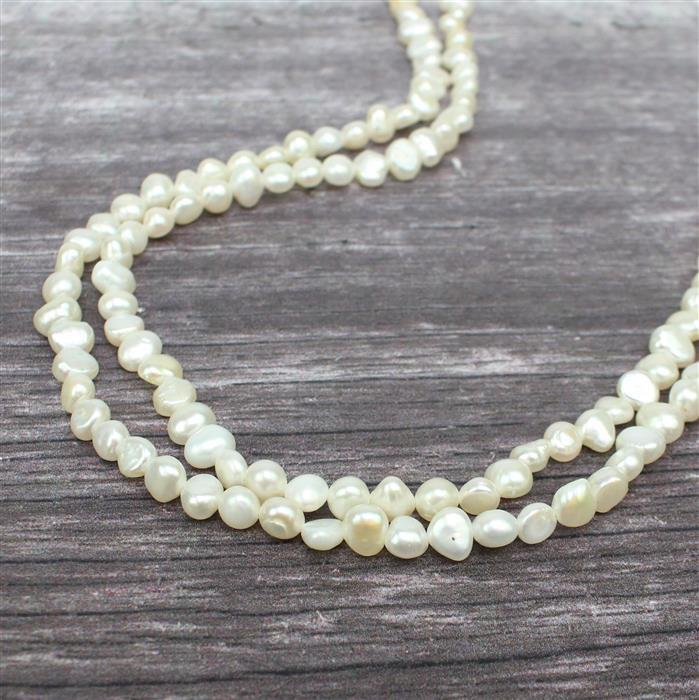White Freshwater Cultured Pearl Nuggets Approx 5x5 to 6x7mm, 1m strand