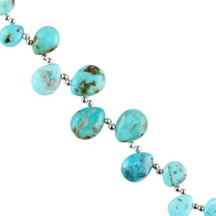 25cts Turquoise Graduated Plain Pears Approx 7x5 to 12x9mm, 8cm Strand.