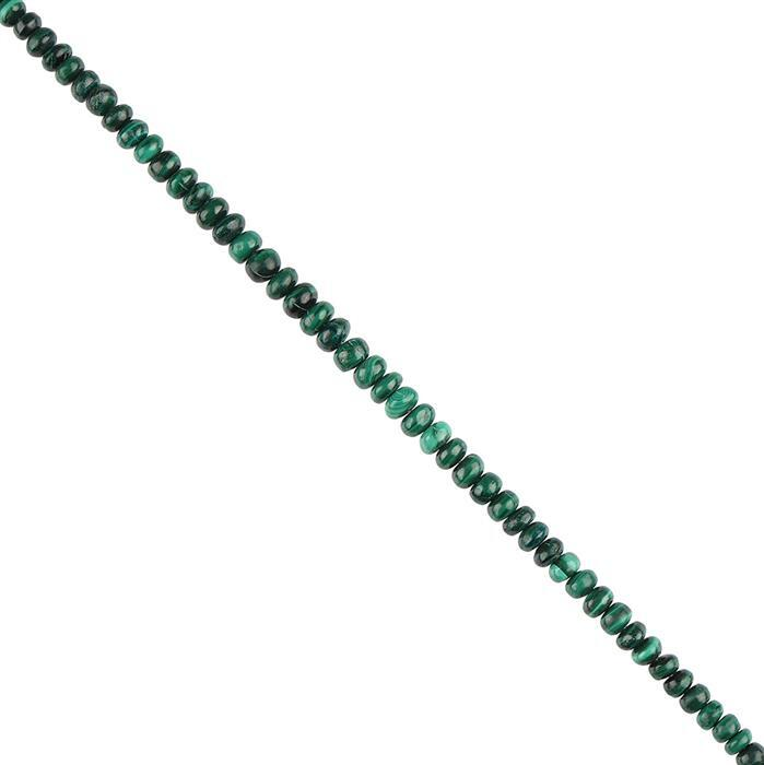 50cts Malachite Graduated Plain Rondelles Approx 2x1 to 5x3mm, 18cm Strand.