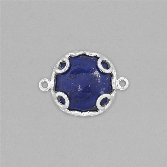 925 Sterling Silver Gemstone Connector Approx 23x16mm Inc. 8cts Lapis Lazuli Cushion Cabochon Approx 15mm