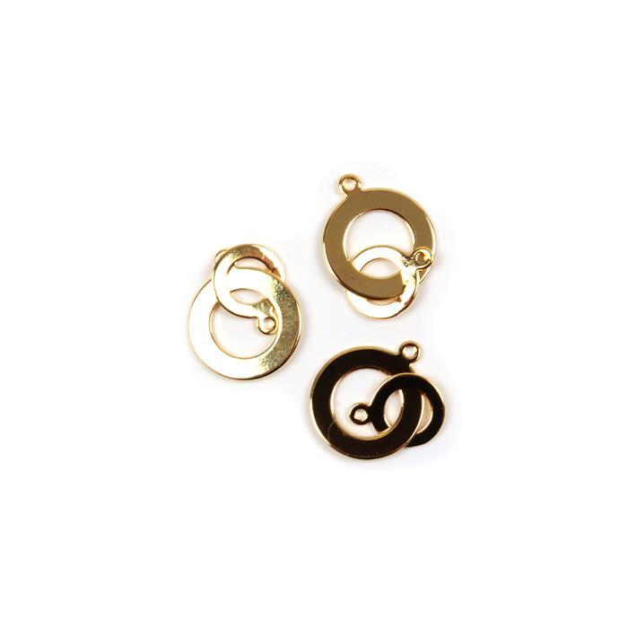 Gold and Silver Plated Brass Interlinked Pendants 13mm & 20mm 3pk