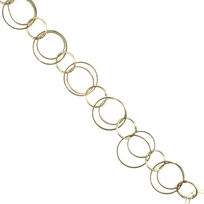 1m Antique Bronze Plated Copper Plain Large & Small Round Loop Chain - 22, 18 & 14mm