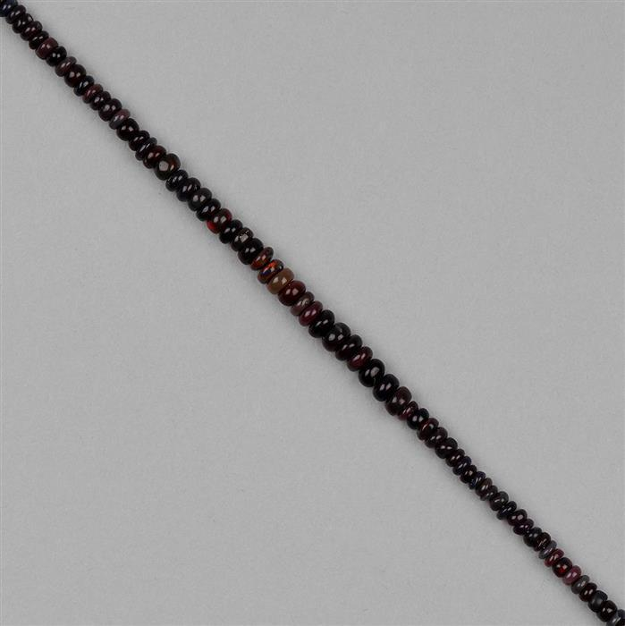12cts Black Ethiopian Opal Graduated Plain Rondelles Approx 2x1 to 5x2mm, 18cm Strand.