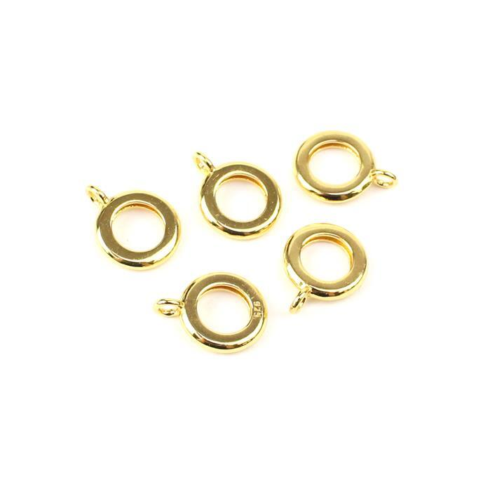 Gold Plated 925 Sterling Silver Charm Bails Approx 10mm (5pc)