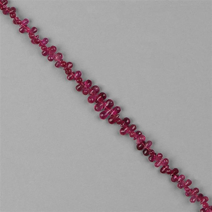 17.50cts Rubellite Graduated Faceted Drops Approx 2x1 to 5x3mm, 16cm Strand.