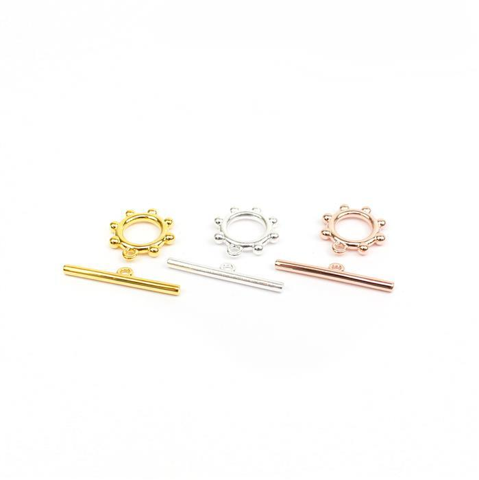 Rose Gold, Gold & Silver 925 Sterling Silver Beaded Ring Toggle Clasp.
