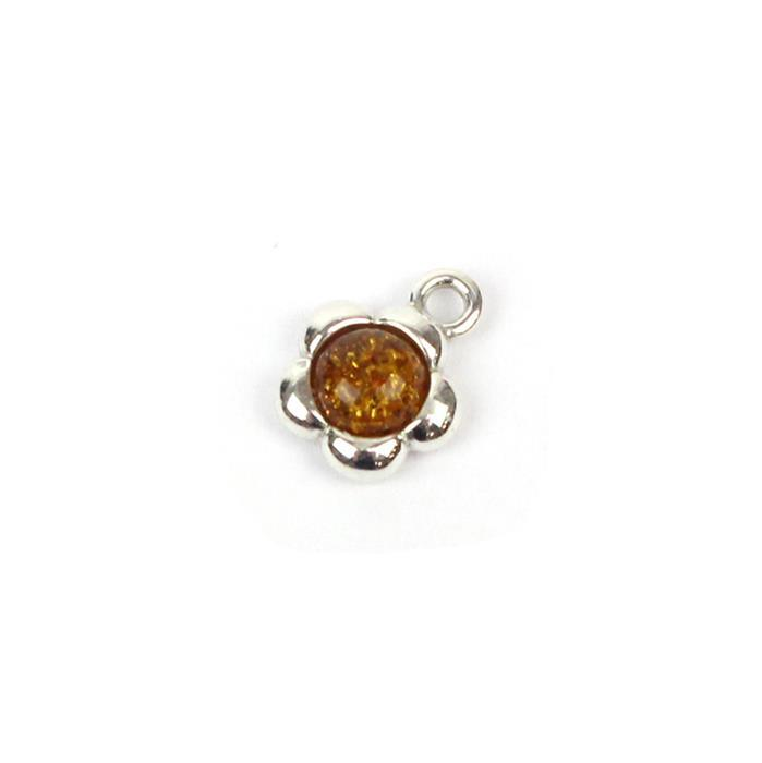 Baltic Cognac Amber Round Cabochon Flower Charm Approx 9mm Sterling Silver