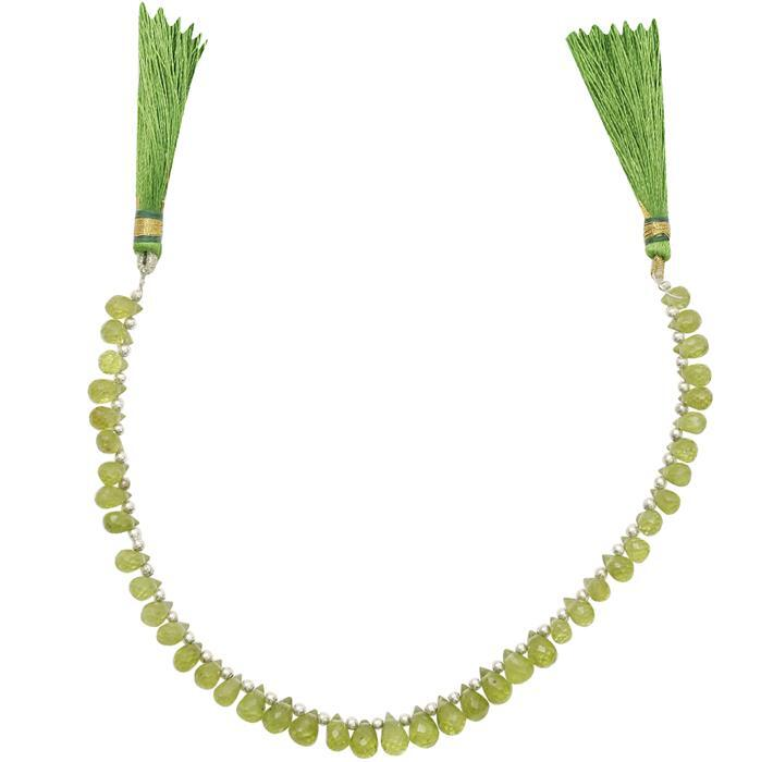 40cts Peridot Graduated Faceted Drops Approx 4x2 to 8x4mm, 18cm Strand.